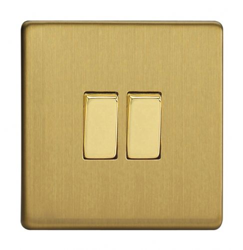 Varilight XDB71S Screwless Brushed Brass 2 Gang 10A Rocker Light Switch (1 x Intermediate 1 x 2W)
